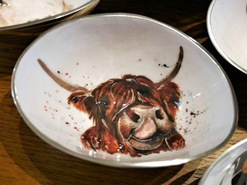 Highland Cow Oval Bowl Small