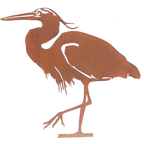 Heron Garden Silhouette with fixing plate in Rust