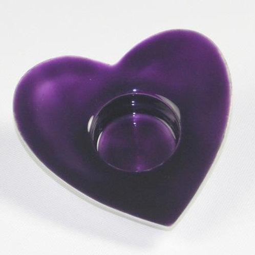 Purple  Heart T-Light Holder