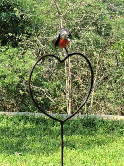 Robin Heart Plant Stake