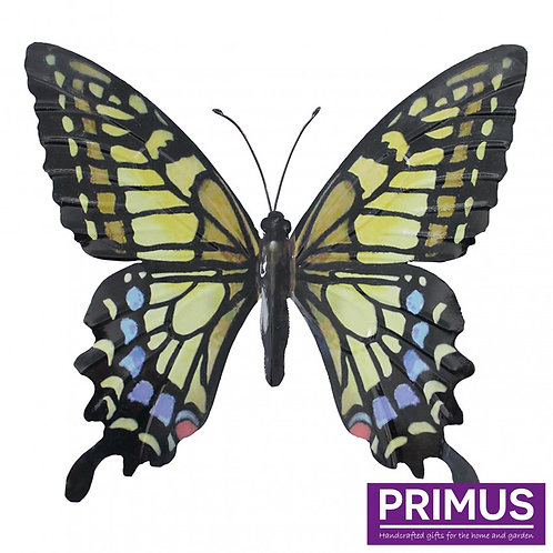 Large Metal Butterfly - Yellow, Blue and Black