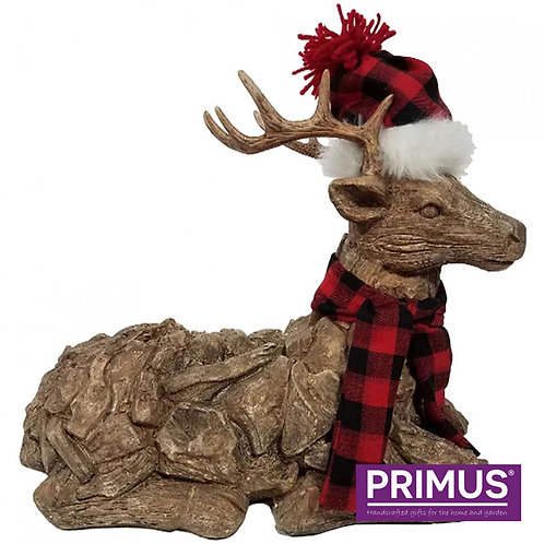 Wood Effect Christmas Stag