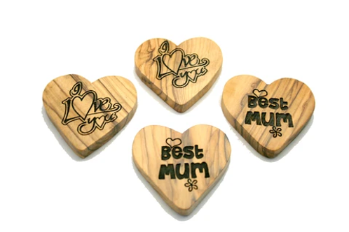 Olivewood Message Hearts - Love, I love you, Hope, Best Mum