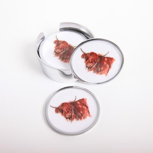 Highland Cow Myrtle Coasters