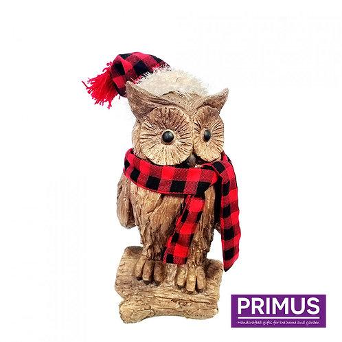 Wood Effect Christmas Owl