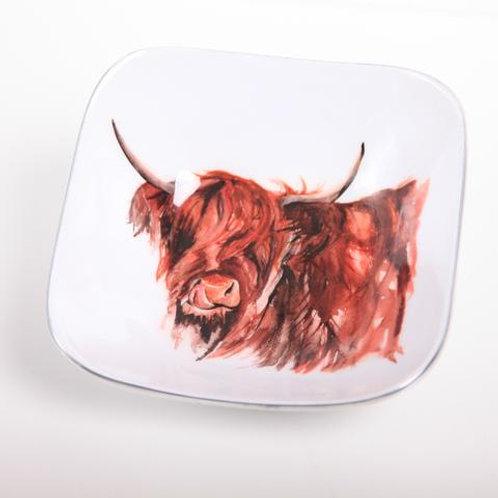 Highland Cow Myrtle Square Bowl