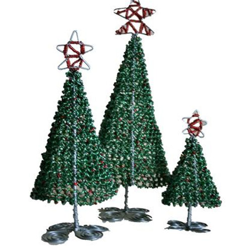 Beaded Christmas Trees Small