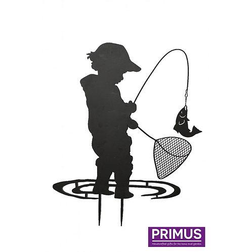 Child Fishing Garden Silhouette with Garden Stake
