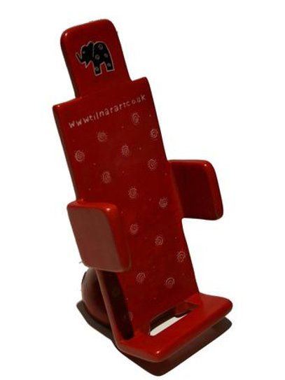 Soapstone Mobile Phone Holder -Red