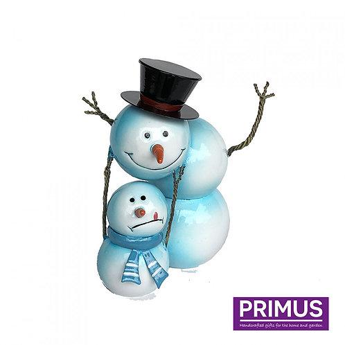 Miniature Metal Snowman Playing