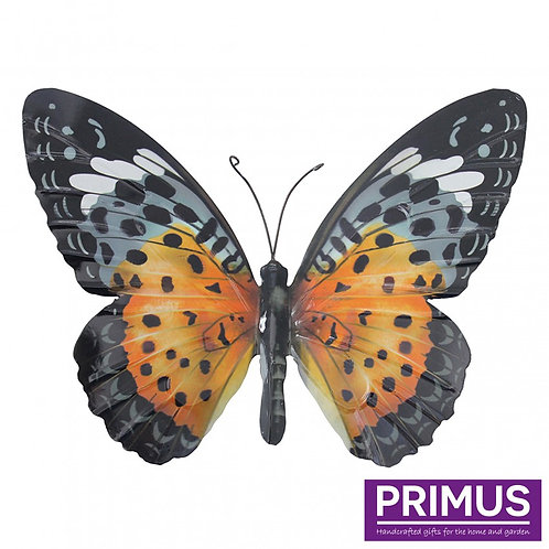 Large Metal Butterfly - Orange and Black