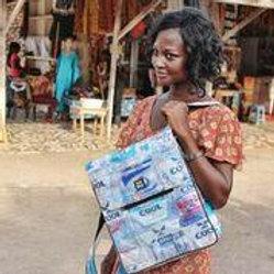 Recycled Water Sachet Sankofa Bag