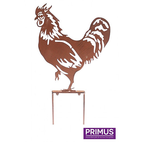Rooster Garden Silhouette with Garden Stake in Rust
