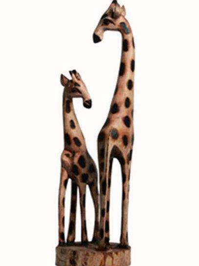 """Wooden Giraffe Mother & Baby 20"""""""