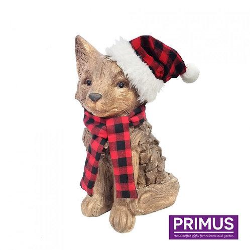 Wood Effect Christmas Fox