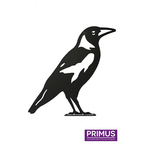 Crow 1 Garden Silhouette with fixing plate in Black