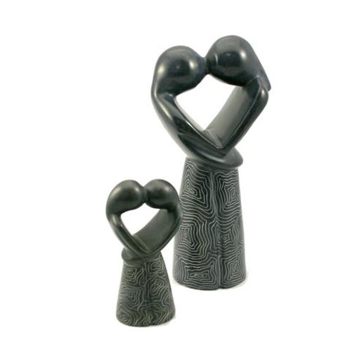 Champagne Grey Kissing Lovers 20 cm