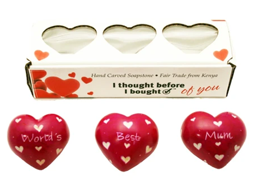 Set of Three Boxed Red Hearts - World's Best Mum