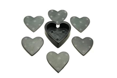 Black Heart Coasters - Set of 6