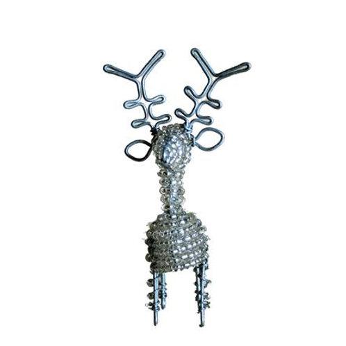 Beaded Silver Reindeer Large