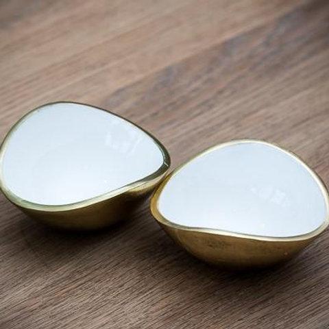 Gold & White Oval Bowl Mini