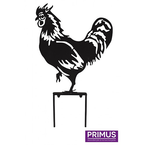 Rooster Garden Silhouette with Garden Stake in Black