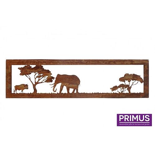 Rusted Metal African Savannah Elephant and Buffalo