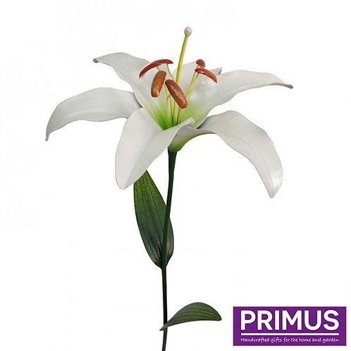 1.2m Giant Metal Lily Garden Stake - White