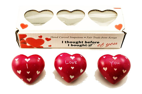 Set of Three Boxed Pink Hearts - I Love You