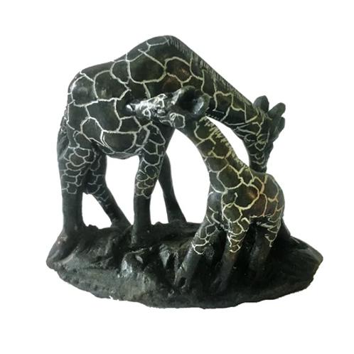 Soapstone Giraffe Mother & Baby 15 cm