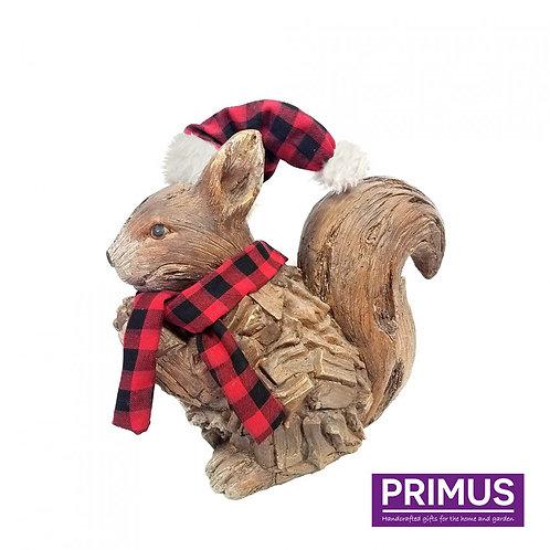 Wood Effect Christmas Squirrel
