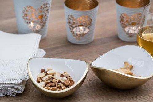 Gold & White Oval Bowl Small