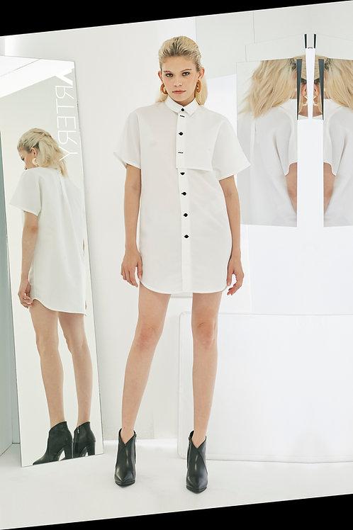 Illusion Poncho Shirt Dress