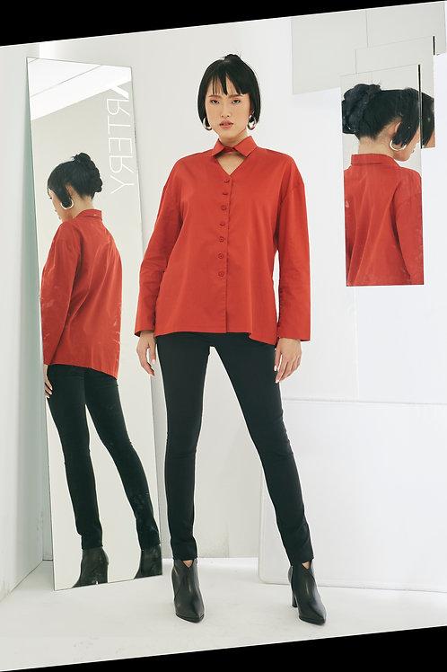Hollow Neck Cotton Sateen Shirt