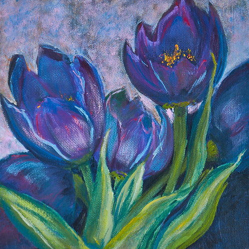 Print of Purple Tulips