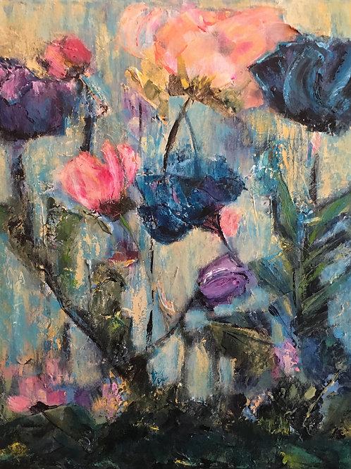 Print of English Garden in Blues