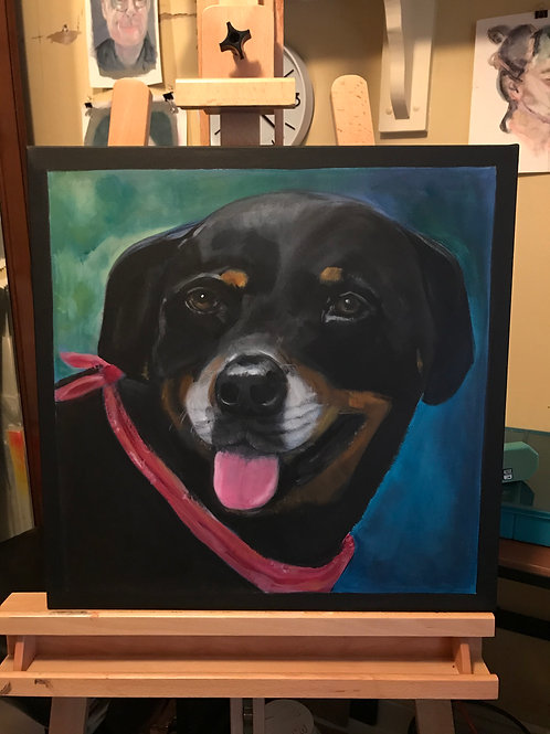 """Portrait of your pet 8""""x10"""" acrylic on GALLERY CANVAS READY TO HANG"""