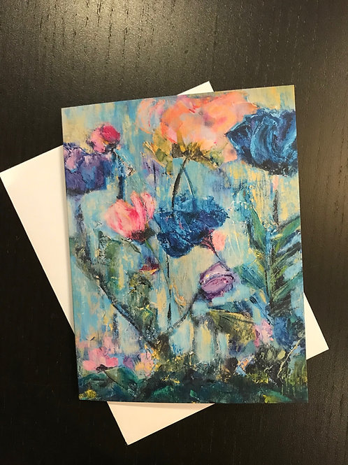 Greeting Card Blank English Garden in Blues