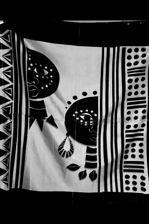 Black/White Mudclothe Design Shower Curtain