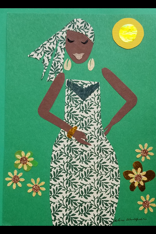 Green Goddess Large Greeting Card