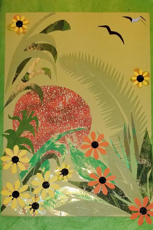 Orange Sun and Flowers Large Greeting Card