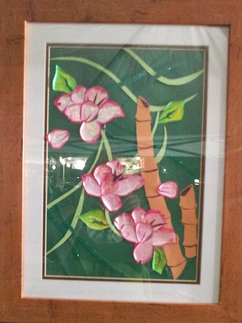 Bamboo Floral Hanging Art