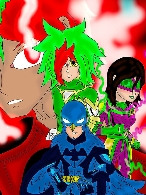 SUPER HEROES OF THE JCMULTIVERSE  8x10 Color Print