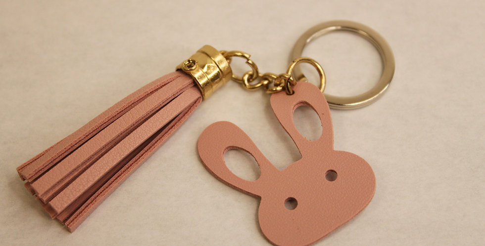 Pink Faux Leather Keychain