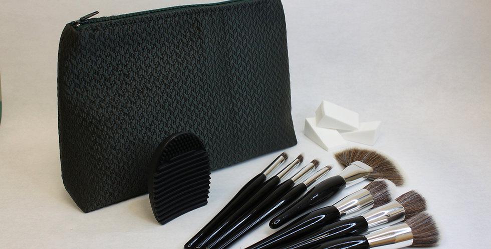Black Makeup Bag Brush Set