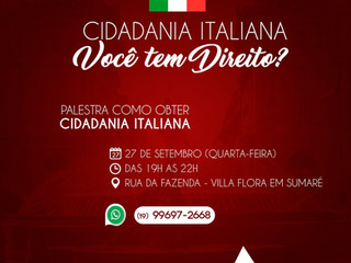Cidadania italiana: Você tem Direito? [Palestra]