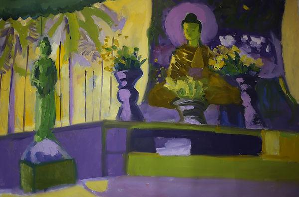 Dans la pagode Sule.huile sur toile 91X6