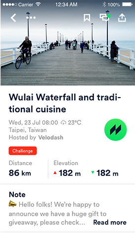 Velodash cycling event app