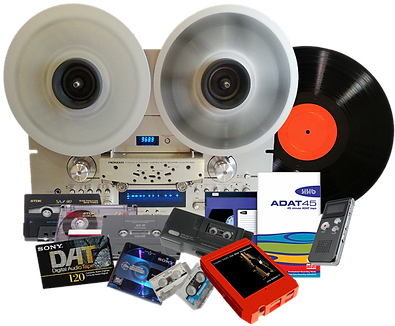 Audio cassette tapes, vinyl records, 8-Track, Reel to reel formats to CD or Digital