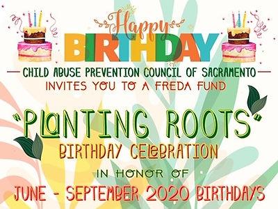 "Happy Birthday, ""Planting Roots"" Birthday Celebration in honor of June–September 2020 Birthdays graphic flyer."